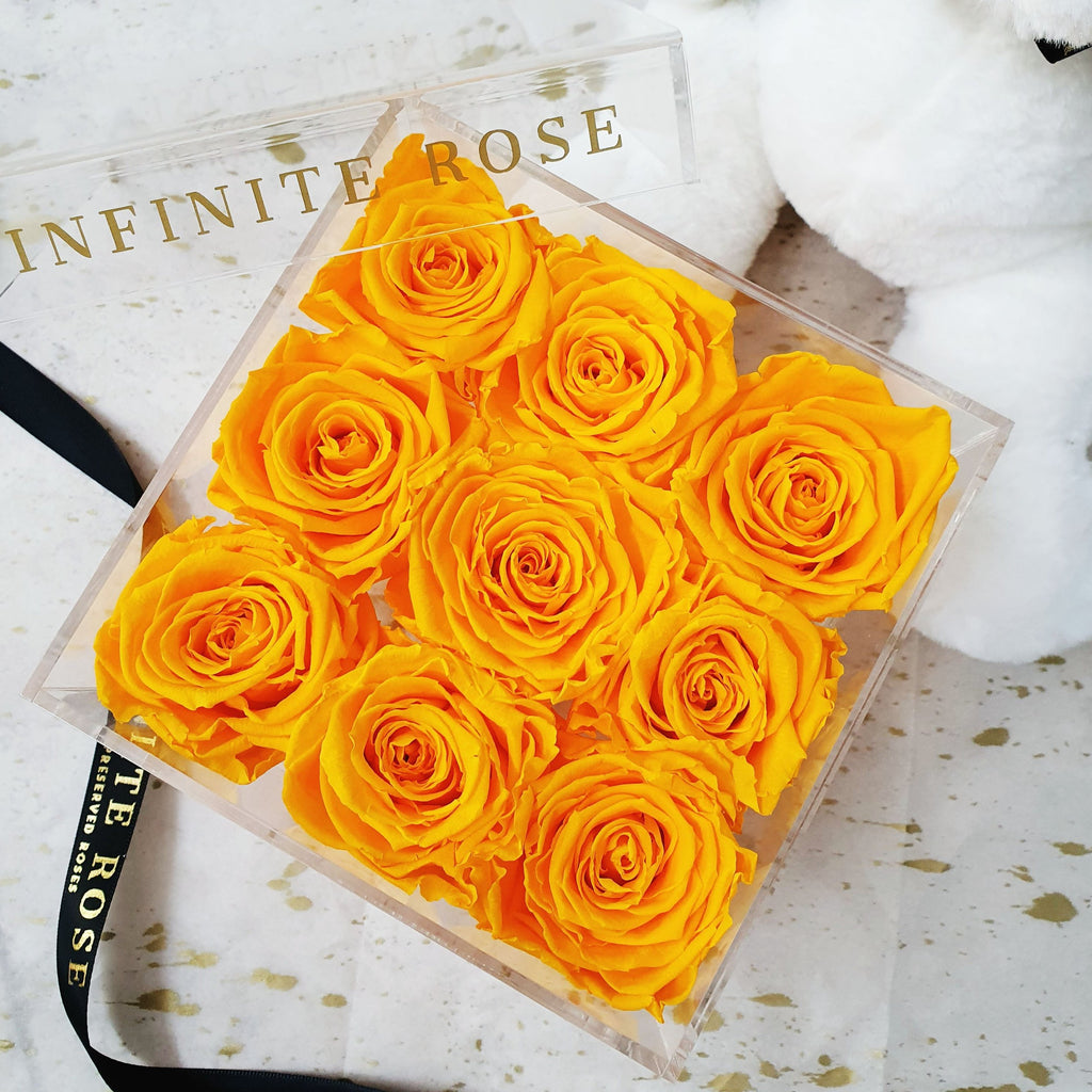 Infinite Rose | Small Acrylic Box with Drawer in Saffron Yellow | Real Roses That Last A Year
