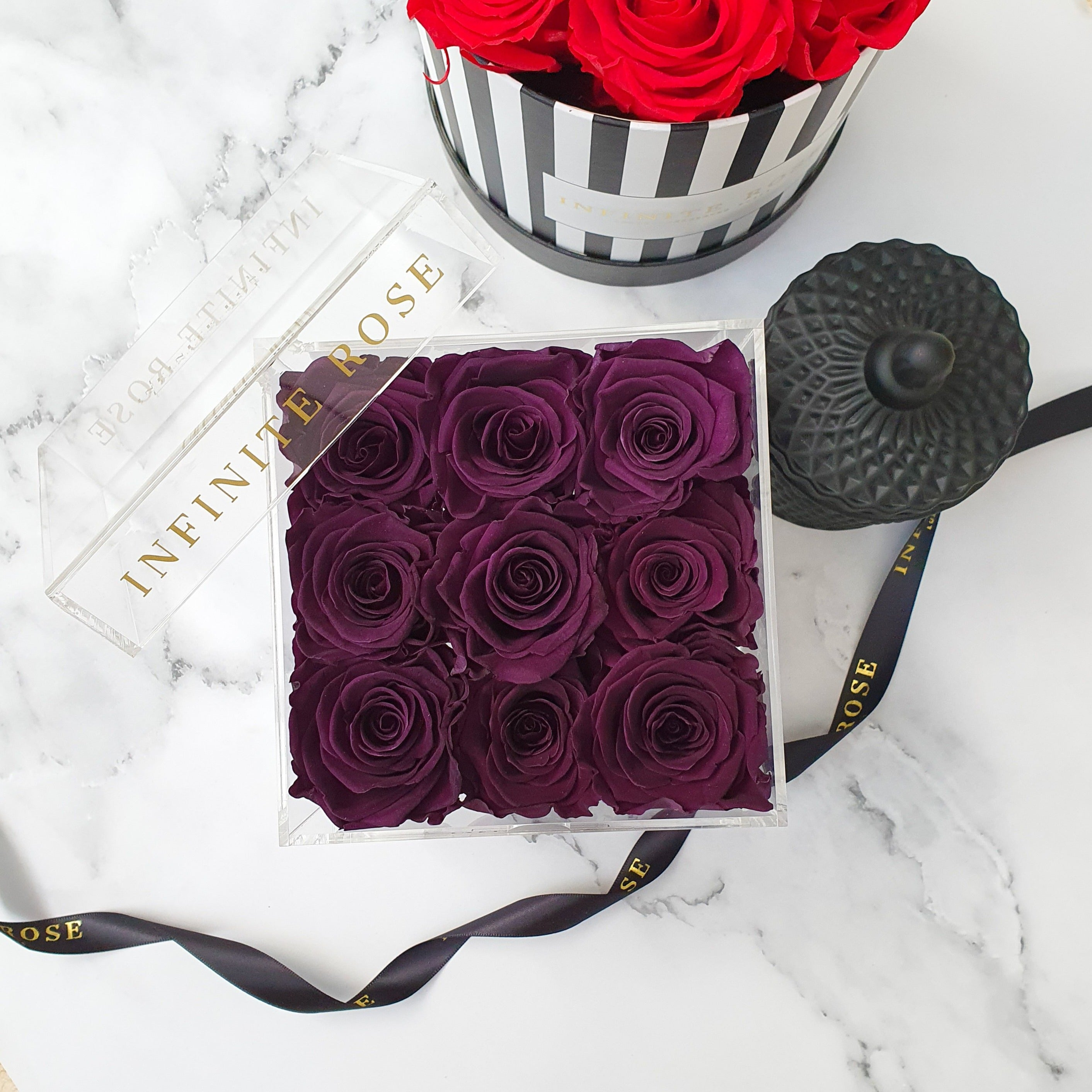 Infinite Rose | Small Acrylic Box with Drawer in Violet | Real Roses That Last A Year