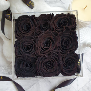 Infinite Rose | Small Acrylic Box with Drawer in Black | Real Roses That Last A Year