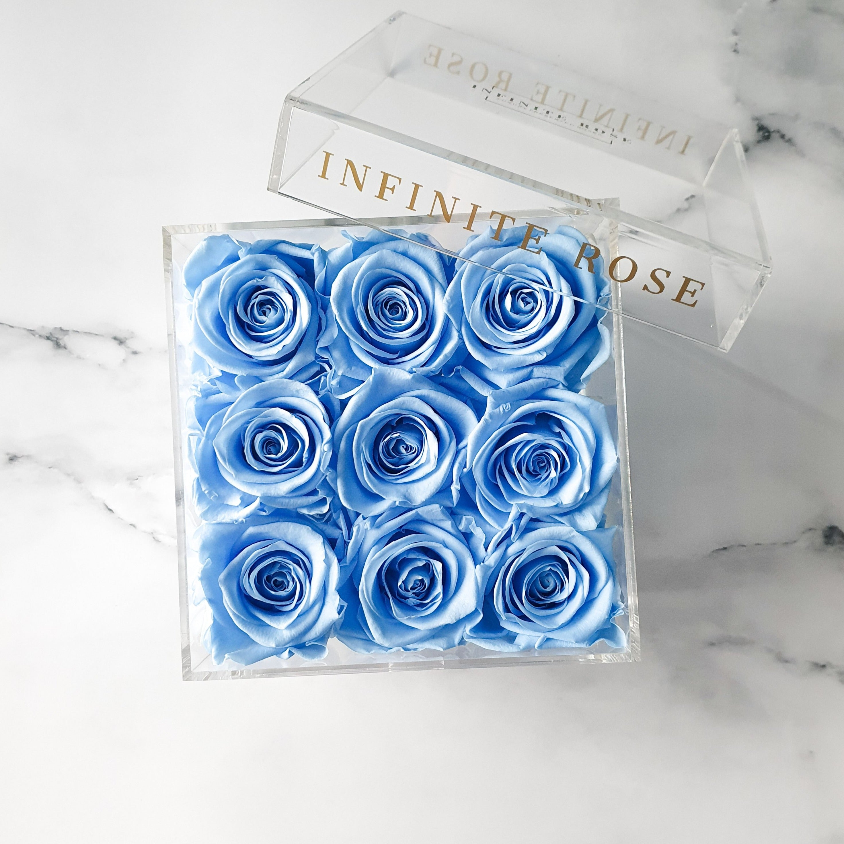 Infinite Rose | Small Acrylic Box with Drawer in Baby Blue | Real Roses That Last A Year