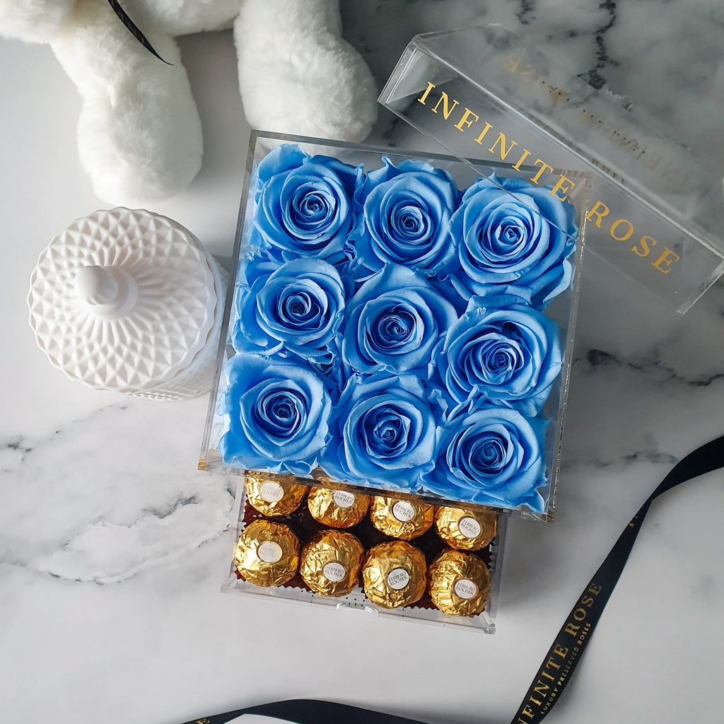 Infinite Rose | Small Acrylic Box with Ferrero Rocher in Baby Blue | Real Roses That Last A Year