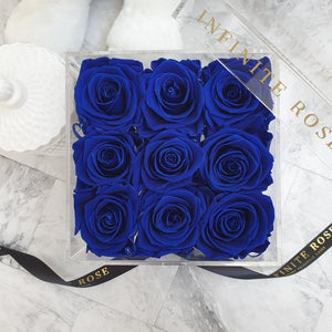 Infinite Rose | Small Acrylic Box with Drawer in Royal Blue | Real Roses That Last A Year