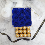 Infinite Rose | Small Acrylic Box with Ferrero Rocher in Royal Blue | Real Roses That Last A Year