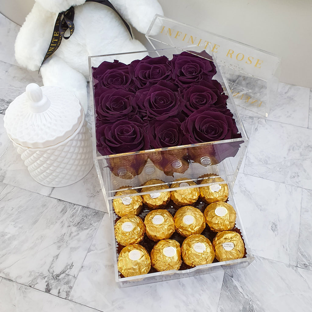 Infinite Rose | Small Acrylic Box with Ferrero Rocher in Violet | Real Roses That Last A Year