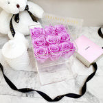 Infinite Rose | Small Acrylic Box with Drawer in Lily | Real Roses That Last A Year