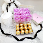 Infinite Rose | Small Acrylic Box with Ferrero Rocher in Lily | Real Roses That Last A Year