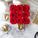 Infinite Rose | Small Acrylic Box with Nutella Heart & Red Roses | Real Roses That Last A Year