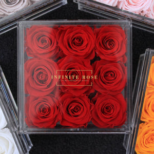 Infinite Rose | Small Acrylic Box with Drawer in Red | Real Roses That Last A Year