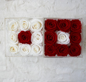Infinite Rose | Small Acrylic Box with Drawer in Red & White | Real Roses That Last A Year
