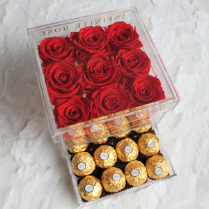 Infinite Rose | Small Acrylic Box with Ferrero Rocher in Red | Real Roses That Last A Year