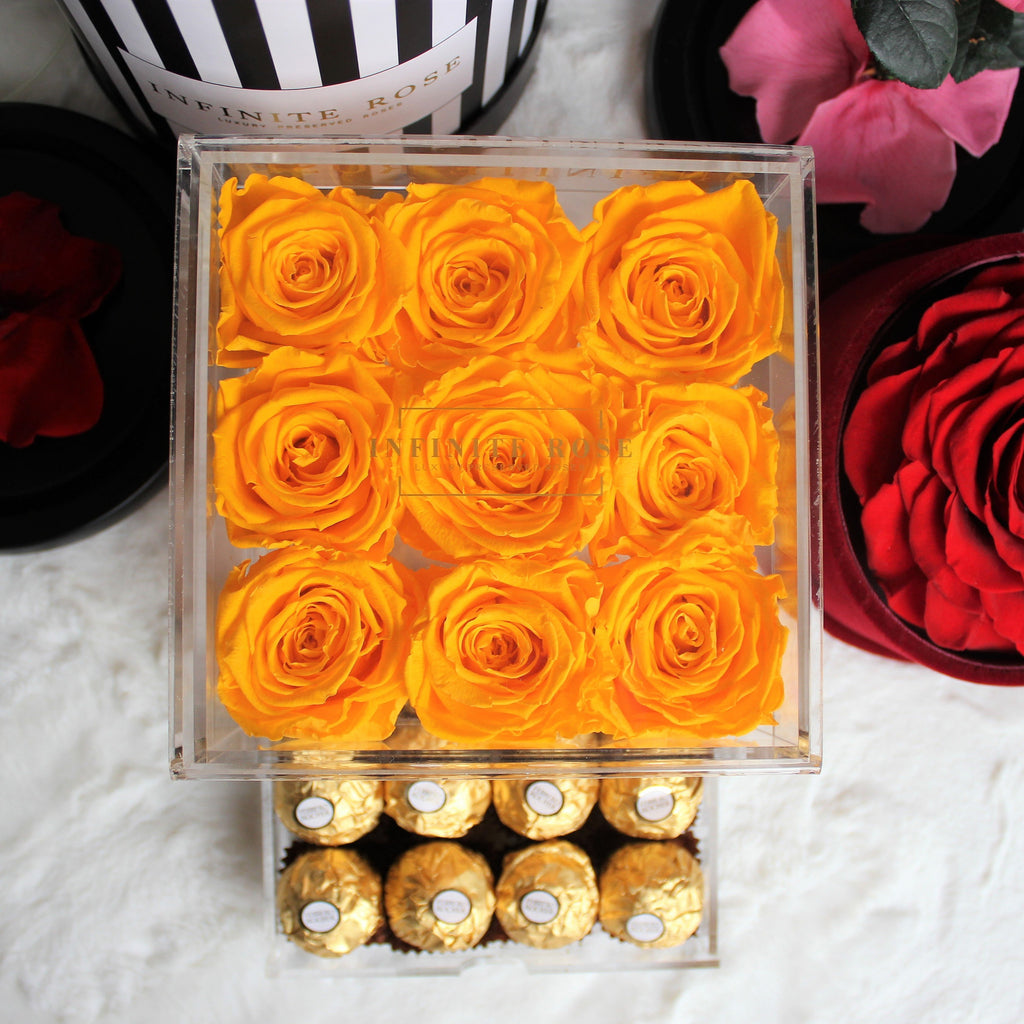 Infinite Rose | Small Acrylic Box with Ferrero Rocher in Yellow | Real Roses That Last A Year
