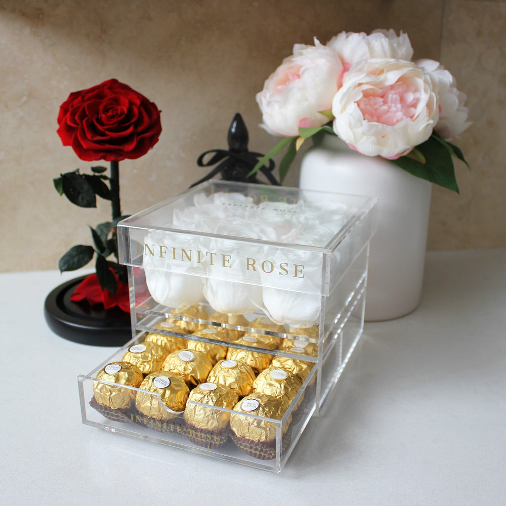 Infinite Rose | Small Acrylic Box with Ferrero Rocher in White | Real Roses That Last A Year