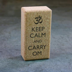 "Yoga Cork Block with ""Keep Calm and Carry OM"" inscription"