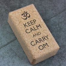 "Carregar imagem no visualizador da galeria, Yoga Cork Block with ""Keep Calm and Carry OM"" inscription"
