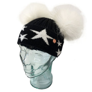 'Little Stars' Black & White Cashmere Double Pom Pom Beanie Hat