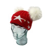 'Stars' Red & White Cashmere Double Pom Pom Beanie Hat