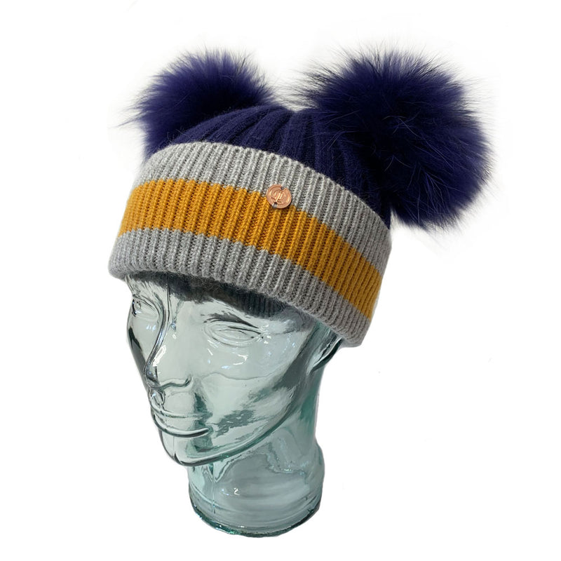 'Say It With Stripes' Navy Cashmere Double Pom Pom Beanie Hat