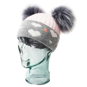 'In Love With LLC' Baby Pink & Grey Hearts Cashmere Double Pom Pom Beanie Hat