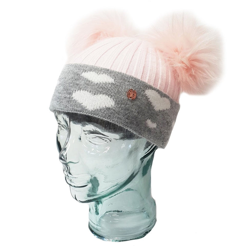 'In Love With LLC' Baby Pink Hearts Cashmere Double Pom Pom Beanie Hat