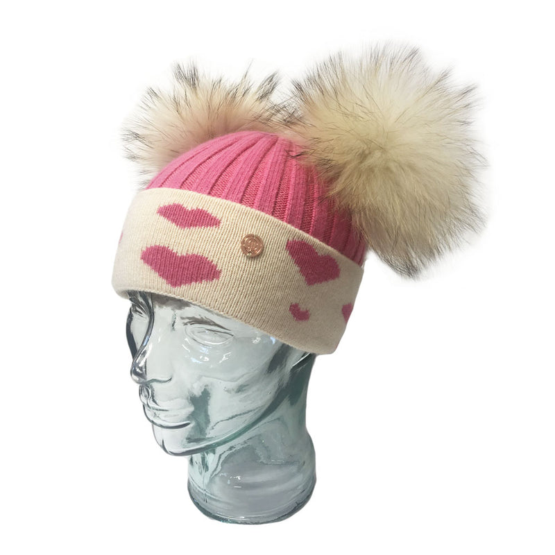 'In Love With LLC' Strawberry Pink & Cream Hearts Cashmere Double Pom Pom Beanie Hat