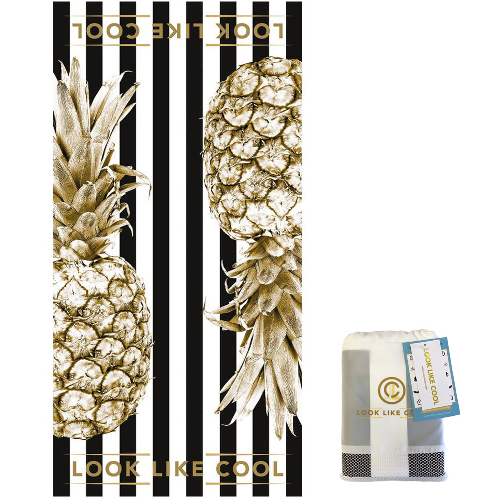 Recycled Plastic Gold Pineapple Compact, Sand Free, Fast Drying Beach/Travel Towel-'Coco Black'