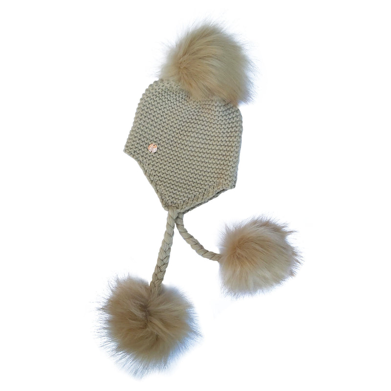 Triple Pom Pom Hat with Tassels- Beige