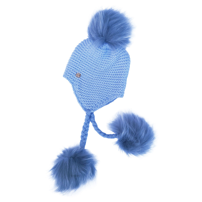 Triple Pom Pom Hat with Tassels- Baby Blue with Blue Poms
