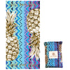 Recycled Plastic Gold Pineapple Compact, Sand Free, Fast Drying Beach/Travel Towel- 'Ocean Chevron'