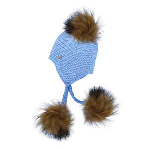 Triple Pom Pom Hat with Tassels- Baby Blue