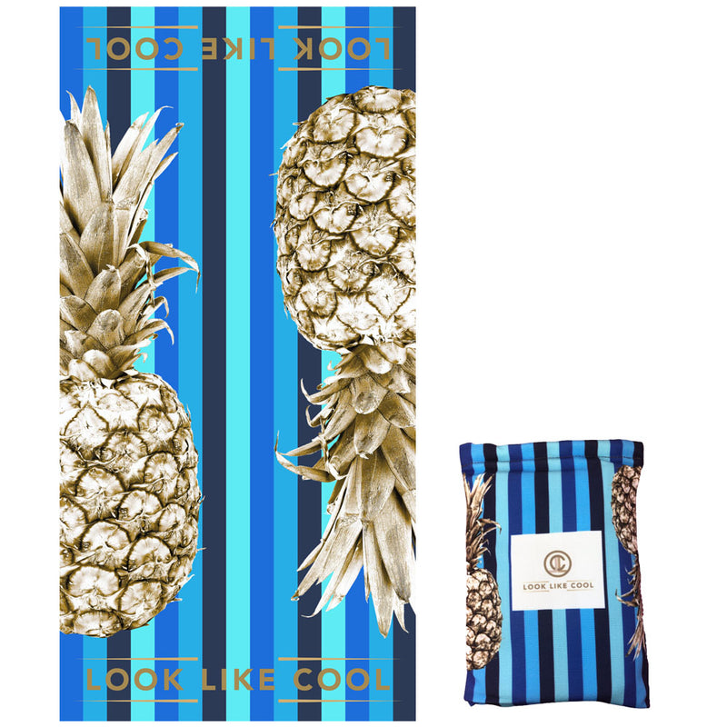 GRS Recycled Plastic Gold Pineapple Compact, Sand Free, XL Fast Drying Beach/Travel Towel- 'Ocean'
