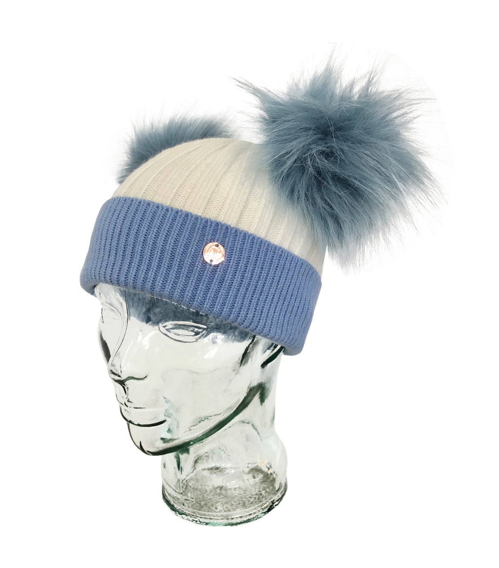 Blue & White Cashmere Double Pom Pom Beanie Hat