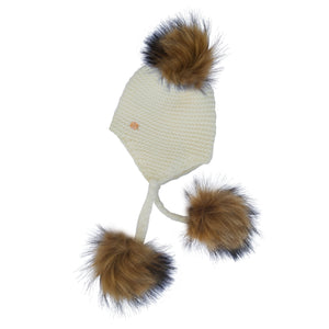 Triple Pom Pom Hat with Tassels- White & Natural