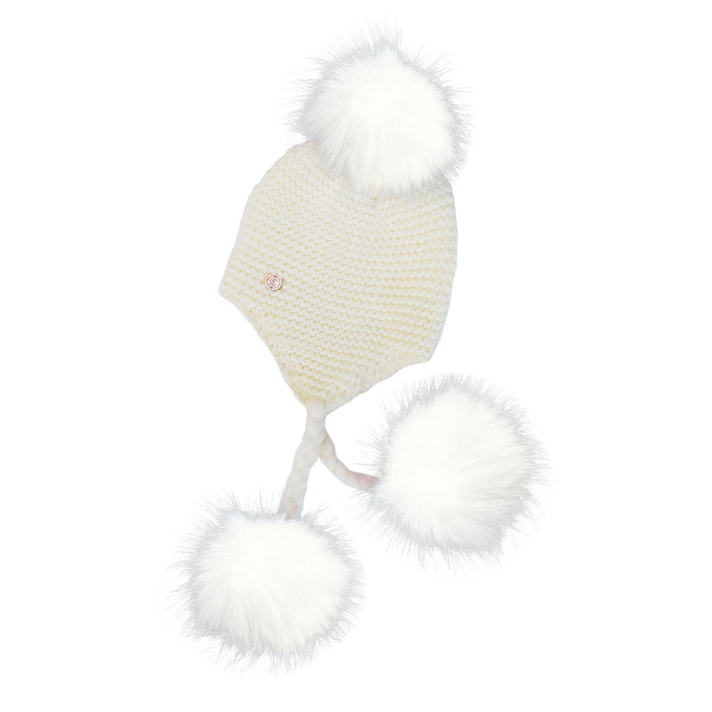 Triple Pom Pom Hat with Tassels- All White
