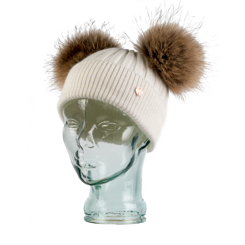 Adult White & Natural Cashmere Double Pom Pom Beanie Hat
