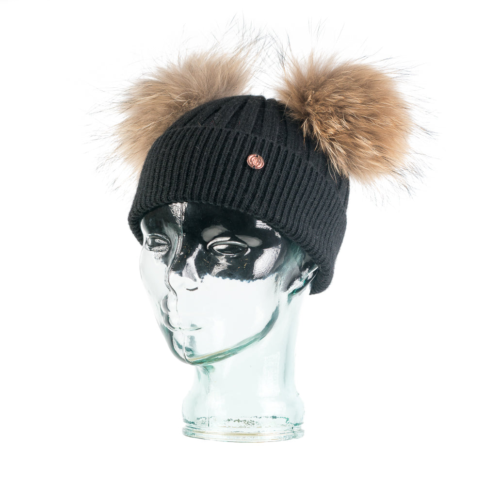 Black & Natural Cashmere Double Pom Pom Beanie Hat