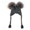 Double PomPom Hat with Tassels- Cobalt Grey
