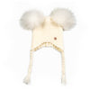 Double PomPom Hat with Tassels- White