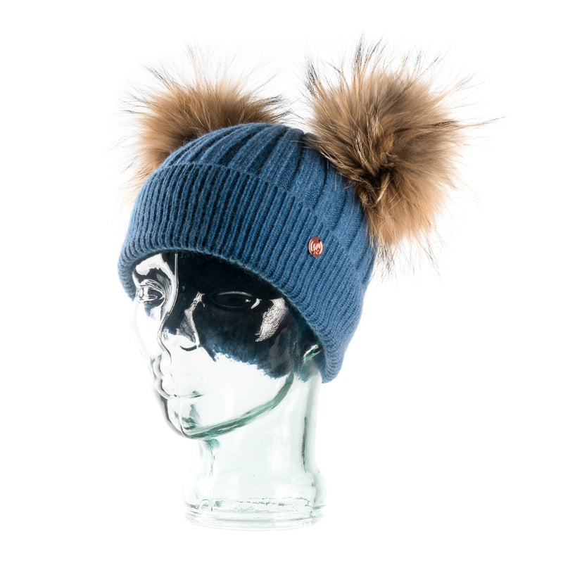 Denim Blue Cashmere Double Pom Pom Beanie Hat