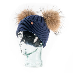 Navy & Natural Cashmere Double Pom Pom Beanie Hat