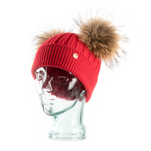 Red & Natural Cashmere Double Pom Pom Beanie Hat