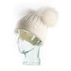 White & Natural Cashmere Double Pom Pom Beanie Hat