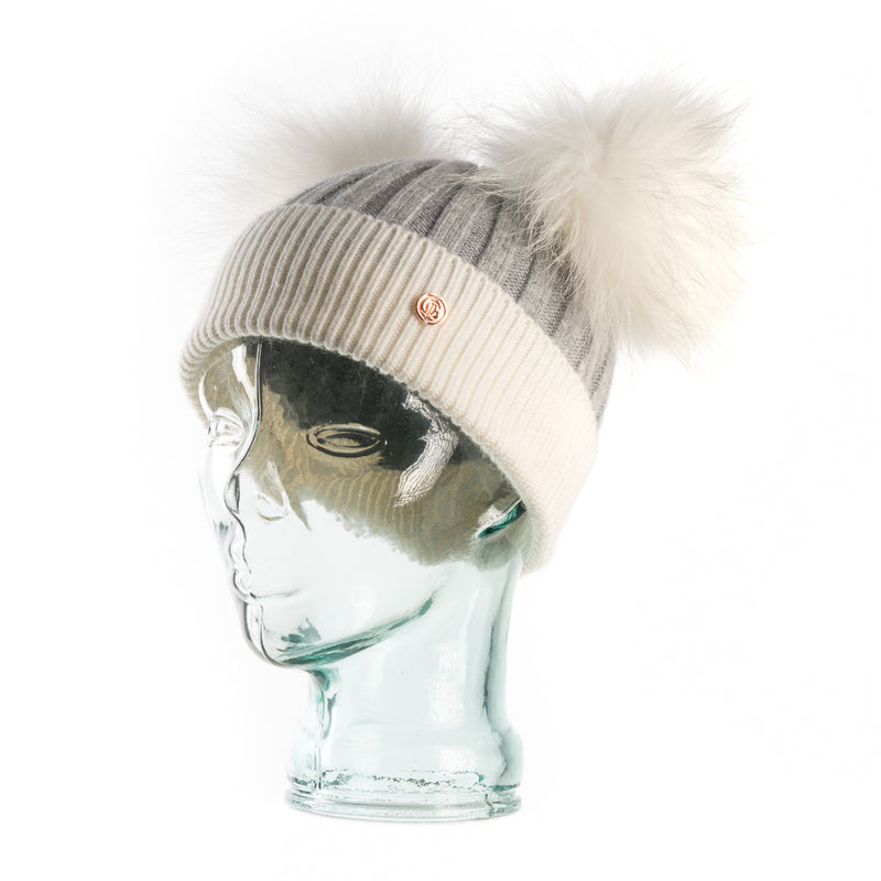 Grey & White Cashmere Double Pom Pom Beanie Hat