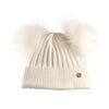Adult All White Cashmere Double Pom Pom Beanie Hat