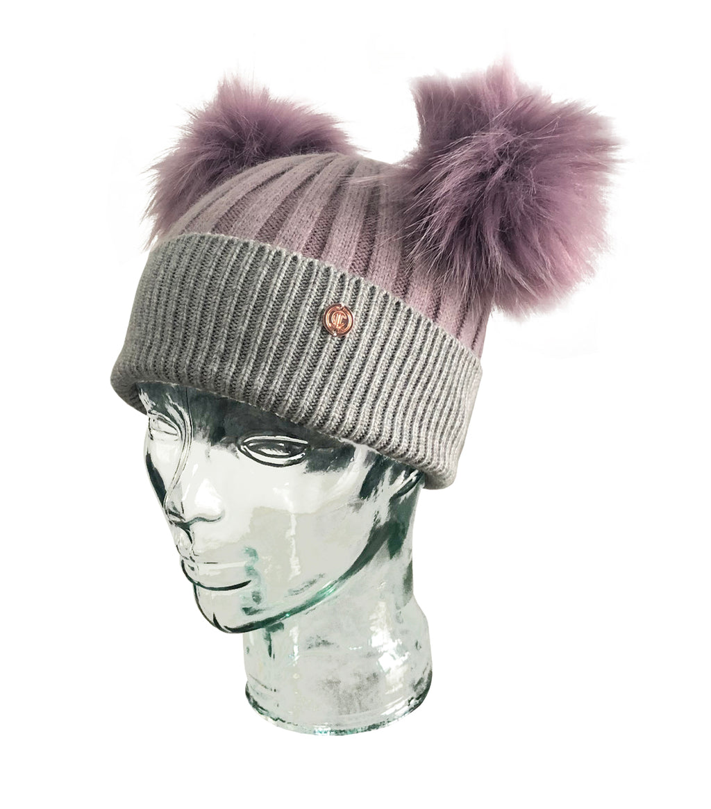 Parma Violet Cashmere Double Pom Pom Beanie Hat with Purple Poms