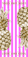 Recycled Plastic Gold Pineapple Compact, Sand Free, Fast Drying Beach/Travel Towel- 'Sunset Pink'
