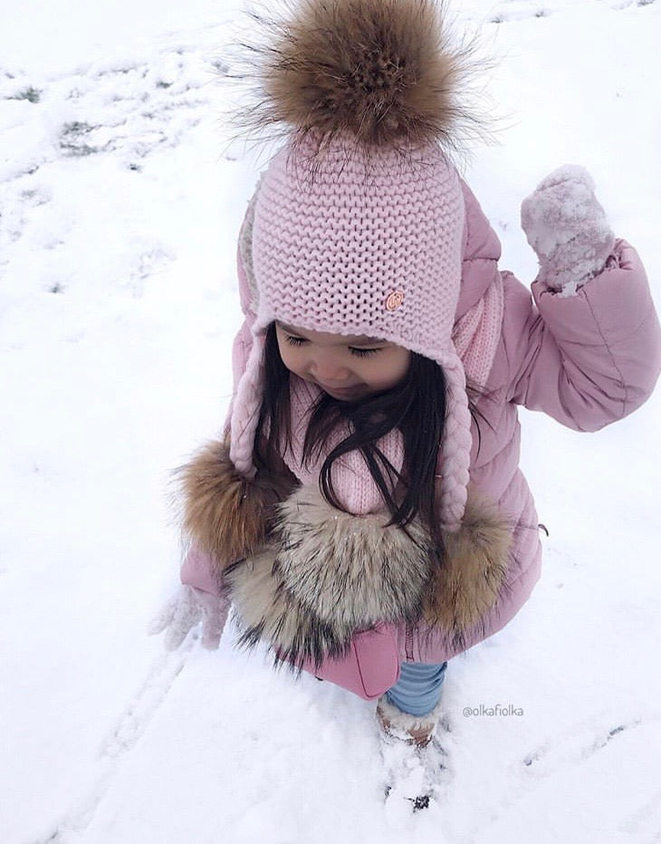 Triple Pom Pom Hat with Tassels- Baby Pink & Natural