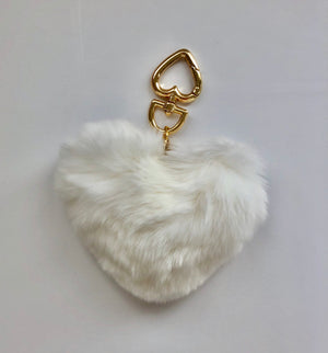 Luxury White Heart Shaped Key Ring or Bag Charm