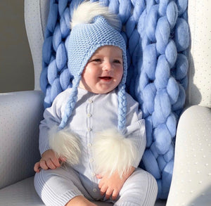 Triple Pom Pom Hat with Tassels- Baby Blue with White Poms