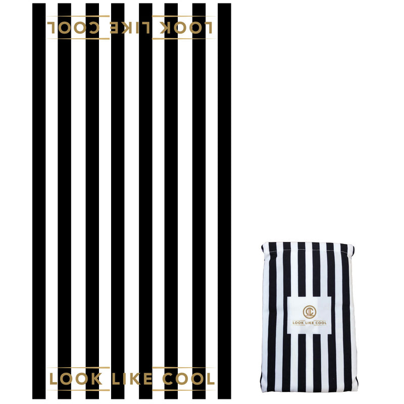 Recycled Plastic Coco Black Stripe Compact, Sand Free, Fast Drying Beach/Travel Towel