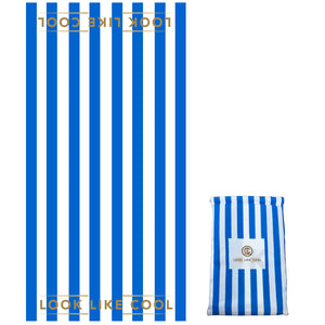 Recycled Plastic Azure Blue Stripe Compact, Sand Free, Fast Drying Beach/Travel Towel